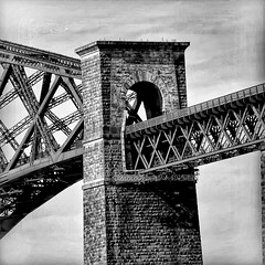 Detail of the  Forth Rail Bridge from South Queensferry (Stephen L D'Agostino) Tags: blackandwhite bw scotland forthbridge forthrailbridge