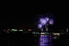 td ameritrade park - home run derby - fireworks - omaha, ne (laughlinc) Tags: 4thofjuly centurylink fireworks independenceday longexposure missouririver night nikon1755mm24 nikond80 omaha reflection tdameritradepark water nikon