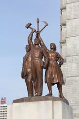 Statue of the DPRK symbols Juche Tower Pyongyang (Bruce McKinlay) Tags: statue northkorea pyongyang dprk