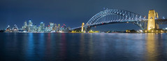 Sydney Skyline (bing dun (nitewalk)) Tags: blue sunset panorama evening cityscape sydney australia hour a6000