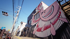 Happy smile in Onomichi (Eric Flexyourhead (YVR catch-up mode!)) Tags: street city pink blue red sky urban sun building cute smile smiling japan shop store clear kawaii  colourful 169 streetscape hiroshimaken onomichi  chugoku    panasoniclumix714mmf40 olympusem5 onomichishi