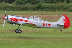 G-YAKM (61 Red) (QSY on-route) Tags: city family red yak manchester fun fly flying airport day open display airshow event barton 50 etienne 61 2014 in yakovlevs gyakm egcb verhellen 13072014