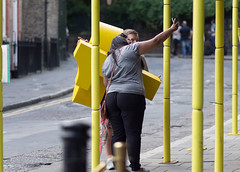Yellow Selfie (Magic Pea) Tags: street woman man lines yellow photography photo candid streetphotography numbers unposed clerkenwell farringdon selfie lonodon magicpea