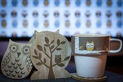 Twit Twoo Tea Time (vandinglewop) Tags: tea sleepy owl mug twit coaster twoo