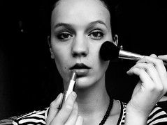 224. Black Beauty (Betty.Schulzova) Tags: red bw white selfportrait black eye girl face proud self heart autoportrait czech stripes makeup iso soul mascara lipstick selfish posh blacknwhite project365 odcloneno sbety bettyschulzova odclonenofmmalovani