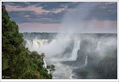 Mist over the Devil's Throat... (tyil.pics) Tags: pink sunset mist clouds forest river waterfall nationalpark iguazufalls explored nikond800e