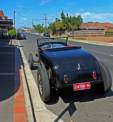 Street Rod in Bentleigh East - Melbourne AU 06Mar2014 (JAYKAY144) Tags: auto street blue red summer sky white black color metal concrete daylight navy convertible wires poles curb tyres streetrod pavers bitum summerride