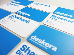 Deskera embossed business card design (lemongraphic) Tags: white corporate minimal businesscard namecard bluecard deskera roundedcard