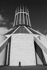 Cathedral 1 (marktmcn) Tags: liverpool metropolitan cathedral christ king roman catholic modernism modernist buidling architecture architect frederick gibberd d80 nikkor circular conical tower blackandwhite