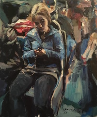 iPhone girl on the train (Captain Wakefield) Tags: painting woman girl metro sitting contemporary blue semi abstract ipod iphone texting public samuel burton art expressionist colour train underground figurative modern beautiful people sit seated