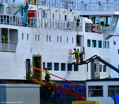 Scotland Greenock the ship repair dock car ferry Hebrides being painted 22 March 2017 by Anne MacKay (Anne MacKay images of interest & wonder) Tags: scotland greenock ship repair dock caledonian macbrayne car ferry hebrides painted xs1 22 march 2017 picture by anne mackay