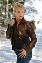 SandraB 96 (The Booted Cat) Tags: sandrab sexy blonde girl model leather jacket tight blue jeans demin whip mistress