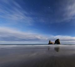Wharariki Arch (danhan27) Tags: astro astrophotography astroscape moonlight moonlit stars beach reflections orion clouds wharariki arch goldenbay newzealand nz night sky