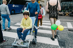 Copenhagen, Denmark 2016 (f.d. walker) Tags: copenhagen denmark europe streetphotography street candidphotography candid color clothes colorphotography contrast city children child kid kids stroller weird strange surreal balloon balloons crosswalk pacifier boy funny