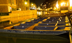 Punting (Nigel Wallace1) Tags: cambridge punts empty night time low light no people olympus omdem1 1240mm river cam university transport boats
