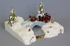 Sleigh Ride (jsnyder002) Tags: lego moc creation sleigh ride snow winter bridge stone landscape ice water drift tree pine technique design cold horse drawn