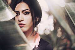 Hajar (Alessia.Izzo) Tags: girl portrait nature face bokeh tropical sensual canon summer feather