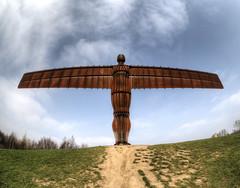 Angel of the North, Gateshead UK - fish-eye view (neilalderney123) Tags: ©2017neilhoward olympus samyang fihie fisheye newcastle angelofthenorth gormley statue gateshead omd