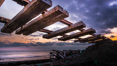 broken rail (shingo7099) Tags: sky sunset sand ocean sea wave cloud rail railway broken winter 645z spring april hokkaido japan