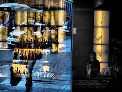 Spirited Away (Stuart D Robertson) Tags: madrid reflections streetscene