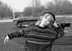 Myself (maellevanrell) Tags: selfie selfportrait myself me photography bnw bw blackandwhite blackwhite blackandwhitephotography monochrome beret french vintage retro seventies smile girl