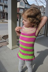 Zoe, 2 years 36 weeks old 8 (peridragon) Tags: zoe toddler knitting testknit neonpinnet spacecadet ravelry