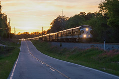 Glinting Horses (ajketh) Tags: ns ocs norfolk southern office car special f7a f9b emd rebuilt 645 prime mover sunset glint horses thoroughbred country highway road 955