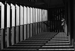 light and shade (amazingstoker) Tags: abbey romsey hampshire light shade shadow monochrome black white contrast patterns wood steel shapes high abstract nt national trust mottisfont door deck rail handrail lamp spring