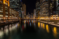 Riverside Chicago (Piotr_PopUp) Tags: lasalle lasallestreet marshallsulowaybridge chicago riverside river bridge reflection water longexposure slowshutter night illinois unitedstates us cityscape city urban nightlights nightshot dark samyang 14mm riverwalk