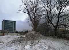 Broken Field (geowelch) Tags: toronto donmills urbanlandscape desolate snow winter constructionsite baretrees condos clouds sky earth panasoniclumixgx1 panasoniclumixgvario1232mm3556