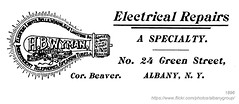 1896 Wyman Electrical Repairs (albany group archive) Tags: albany ny history vintage 1896 wyman electrical repairs green street light bulb old historic historical photos