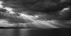 B&W sunbeams (LEXPIX_) Tags: bw black white greytones clouds dramatic sky sunbeams lake water champlain adk nikon d810 2470 28 lexpix
