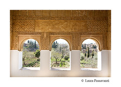 Alhambra of Granada, Andalusia, Spain (laura passavanti) Tags: alhambra palace granada mooorish andalusia arabic architecture decoration arch attraction landmark heritage historic islamic spain unesco detail nasrid generalife column roof nazaries alcazaba garden vegetation frame trees patio