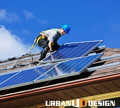 Solar panel installation (urbandesignchico) Tags: blue roof hardhat people house man male green rooftop home electric grid person solar energy power panel working solarpanel alternativeenergy generator generators installation electricity worker panels residential cells install generation carry alternative array carrying renewable lifting installer photovoltaic installing roofer