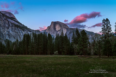 Twilight at Cook Meadow (Darvin Atkeson) Tags: pink sunset mountains clouds forest washington nationalpark twilight nevada sierra nativeamerican yosemite halfdome legend northdome darvin royalarches atkeson darv liquidmoonlightcom tissaack cookmeadow