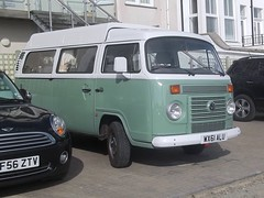 VW Kombi (occama) Tags: uk 2 two white bus green classic vw volkswagen cornwall mexican type camper 2011 wx61alu