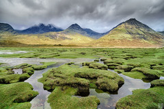 the Cullins - Isle of Skye (gregor H) Tags: mountain green nature water grass clouds landscape photography scotland highlands isleofskye spirit tide spotlight sunbeam clods blabheinn torrin lochslapin riverestuary elapseoftime