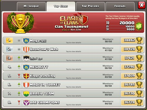 Clash of Clans Score Board: screenshots, UI