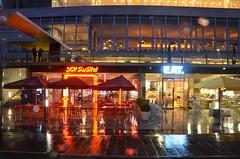 Wet Neon (raindog) Tags: wet rain night sushi nikon neon bladerunner southbank eat d7000 thelondonphotographersschool slowshutterphotographyonthesouthbank