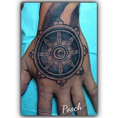 Dharma Wheel #dharmawheel #tibetan #buddhist #pooch_art @neotatmachines @fusionink_ca