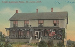 """NE St Helen Roscommon MI Circa 1908 Patriotic RARE View THE LAKEVIEW HOTEL a Detroit Bay City and Alpena Railroad Stop SOUTH BRANCH of AU SABLE headwaters at Lake St Helen1 (UpNorth Memories - Donald (Don) Harrison) Tags: travel usa heritage history tourism vintage antique michigan postcard memories restaurants hotels trailer roadside upnorth cafes attractions motels cottages cabins campgrounds upnorthmemories rppc wonders"""" """"michigan memories"""" parks"""" entertainment"""" """"natural harrison"""" """"roadside """"travel """"don """"tourist stops"""" """"upnorth"""