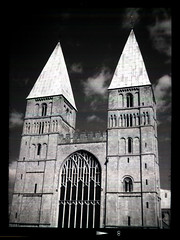 Southwell Minster (pho-Tony) Tags: camera old red sky blackandwhite bw cloud 3 120 film church vintage dark ir 645 skies cathedral f45 made filter 1950s infrared roll british medium format halfframe veteran ilfordsfx minster bellows folder ilford folding epsilon ensign redfilter darksky sfx southwellminster 145 1620 darkskies 75mm southwell ilfosol fauxinfrared sfx200 ilfordsfx200 anastigmat 45x6 6cm selfix ensar 45cm britishmade autaut ensignselfix1620 ilfosol3 45cmx6cm multicamsource