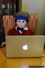 Greetings from Petey! (InSapphoWeTrust) Tags: usa apple macintosh mac doll unitedstates lasvegas laptop nevada unitedstatesofamerica northamerica collectible petey playpal applemacintosh ashtondrakegalleries idealtoycompany peterplaypal macbookair