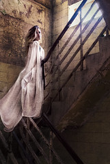 the stairway to.. (loren amie) Tags: old light white black texture abandoned yellow stairs photoshop dark stair long raw dress edited rustic banner steps stairwell staircase blonde flowing base mystique raf upwood