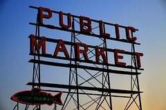 Seattle PikePlace Market over sunset (tokuro) Tags: seattle blue sunset orange fish sign washington nikon place market pikeplacemarket pike pikeplace fishmarket publicmarket d800