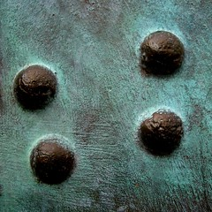 Four pips (vertblu) Tags: teal copperrust verdigris copper abstract abstraction minimal minimalism bsquare 500x500 vertblu texture texturesquared türkis brushedsurface surface metal metallic turquoise pattern minimalismus rivets