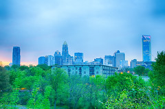 charlotte skyline early morning before sunrise (DigiDreamGrafix.com) Tags: city morning travel trees sky copyright usa green home nature weather skyline modern sunrise early nc big scenery downtown metro cloudy charlotte horizon over structures northcarolina before panoramic southern commute metropolis eastern copyrighted