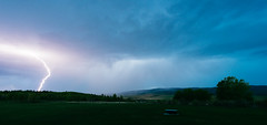 Lightning coming up the valley. (Storm Farm) Tags: storm rain clouds google flickr valley lightning cl conditions ouds stormfarm