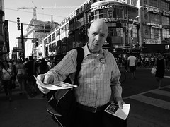 Jesus Is Coming .... (Greg's Southern Ontario (catching Up Slowly)) Tags: street people toronto nikon faith religion jesus streetphotography persons dundassquare blackandwhitephotography religiousman torontostreetphotography