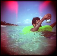 peace pirate (inwildness) Tags: camera 120 film beach tattoo analog square mexico toy photography holga lofi tulum playa beachlife plastic anderson salvador medium format caribbean float caribe cervesa floaty matus jaechon floatin beachdaze dotwork xcacel
